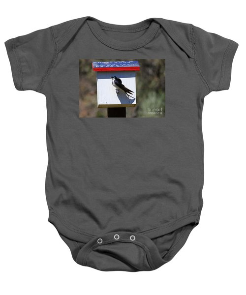 Tree Swallow Home Baby Onesie by Mike  Dawson