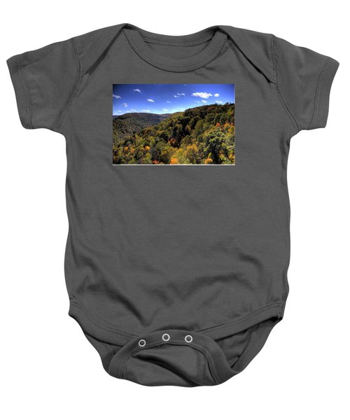Baby Onesie featuring the photograph Trees Over Rolling Hills by Jonny D
