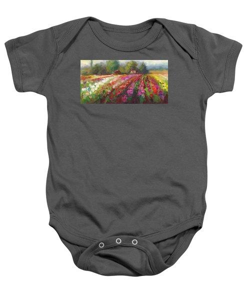 Trespassing Dahlia Field Landscape Baby Onesie