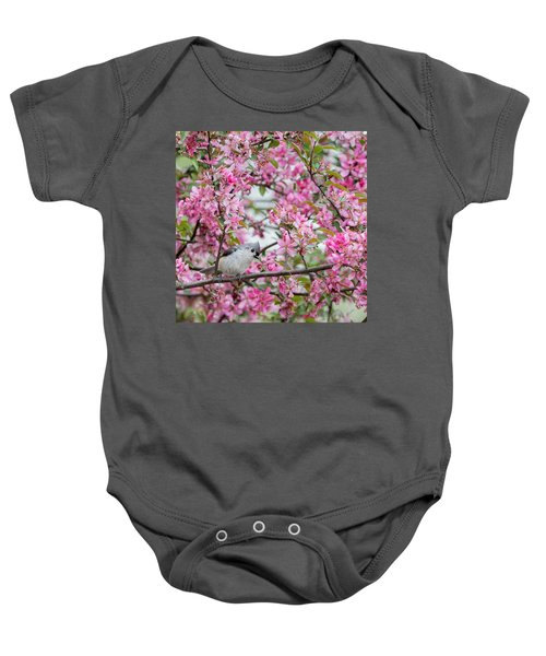 Tufted Titmouse In A Pear Tree Square Baby Onesie by Bill Wakeley