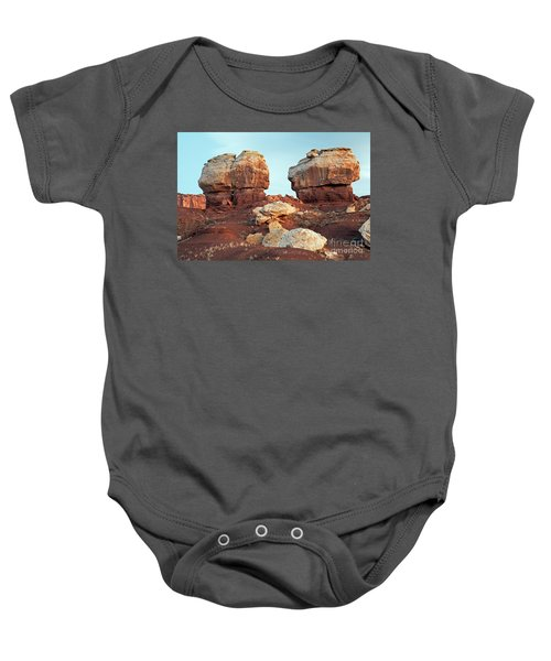 Twin Rocks At Sunrise Capitol Reef National Park Baby Onesie