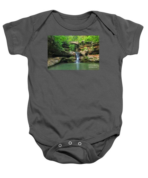 D10a-113 Upper Falls At Old Mans Cave Hocking Hills Photo Baby Onesie