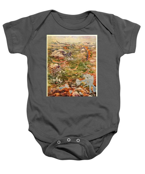 Vintage Map Of Yellowstone National Park Baby Onesie