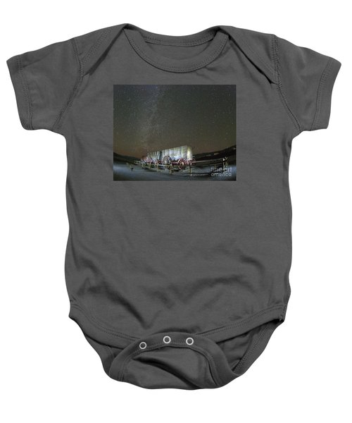 Wagon Train Under Night Sky Baby Onesie