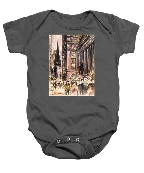 New York Wall Street - Fine Art Painting Baby Onesie