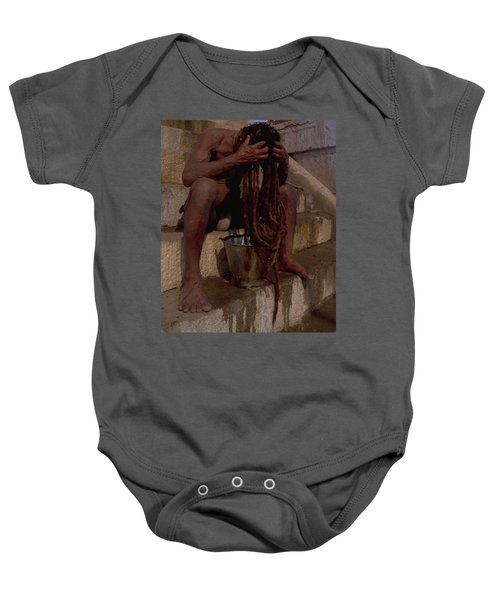Baby Onesie featuring the photograph Varanasi Hair Wash by Travel Pics
