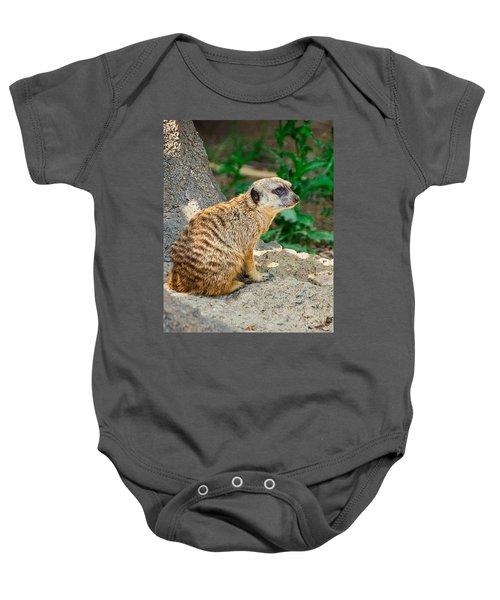 Watchful Meerkat Vertical Baby Onesie by Jon Woodhams