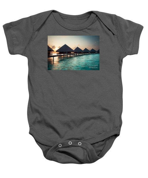 Waterbungalows At Sunset Baby Onesie