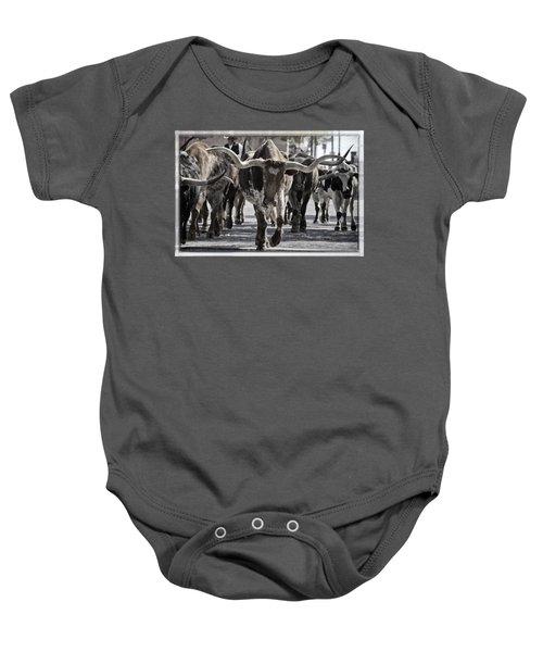 Watercolor Longhorns Baby Onesie
