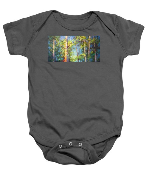 Welcome Home - Birch And Aspen Trees Baby Onesie