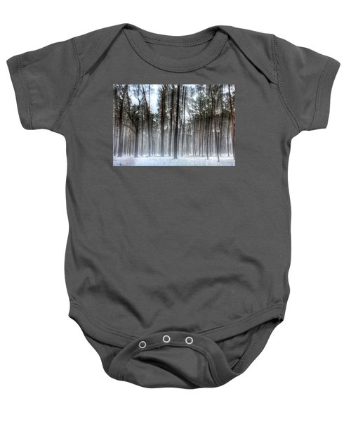 Winter Light In A Forest With Dancing Trees Baby Onesie