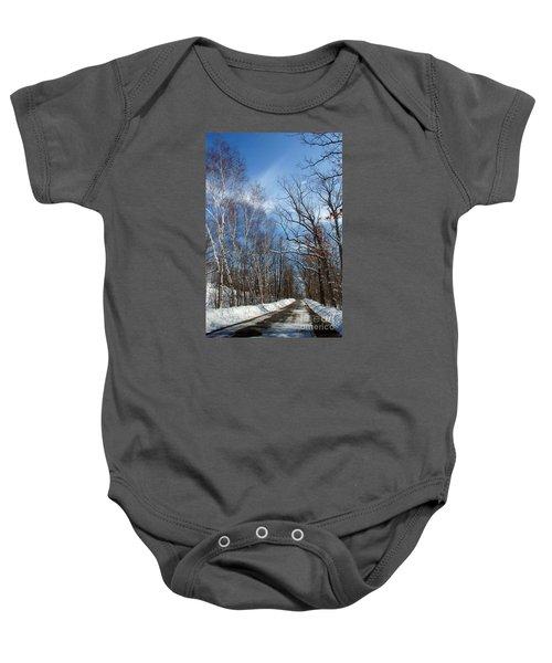 Wisconsin Winter Road Baby Onesie
