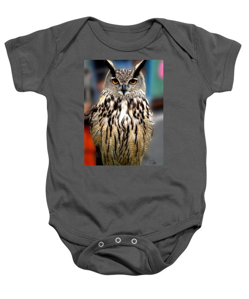 Baby Onesie featuring the photograph Wise Forest Mountain Owl Spain by Colette V Hera  Guggenheim