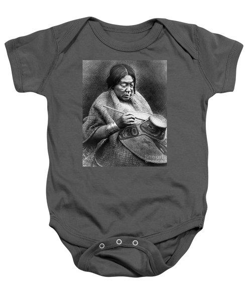 Woman Painting Baby Onesie