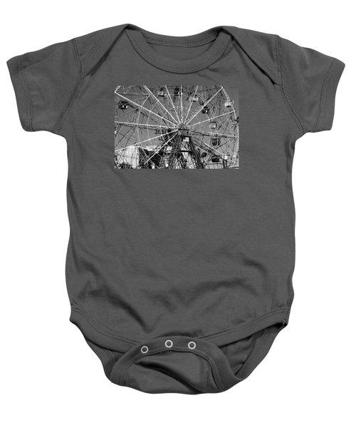 Wonder Wheel Of Coney Island In Black And White Baby Onesie