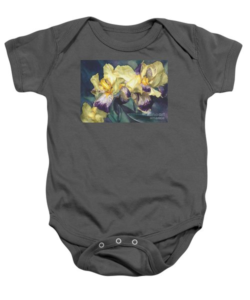 Watercolor Of A Tall Bearded Iris Painted In Yellow With Purple Veins Baby Onesie