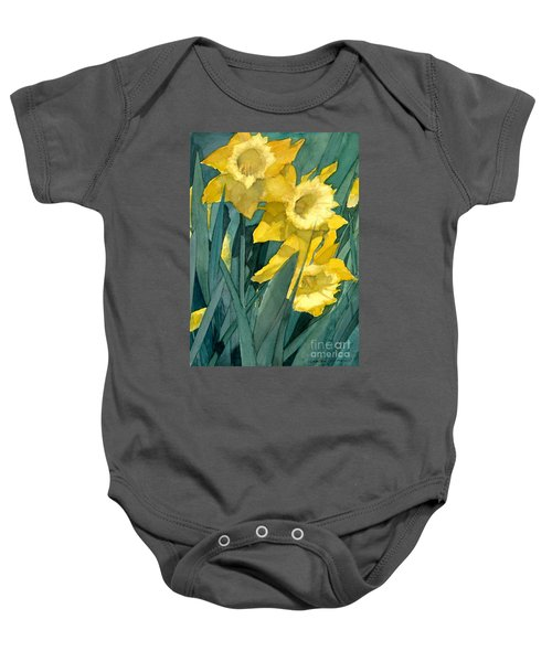 Watercolor Painting Of Blooming Yellow Daffodils Baby Onesie