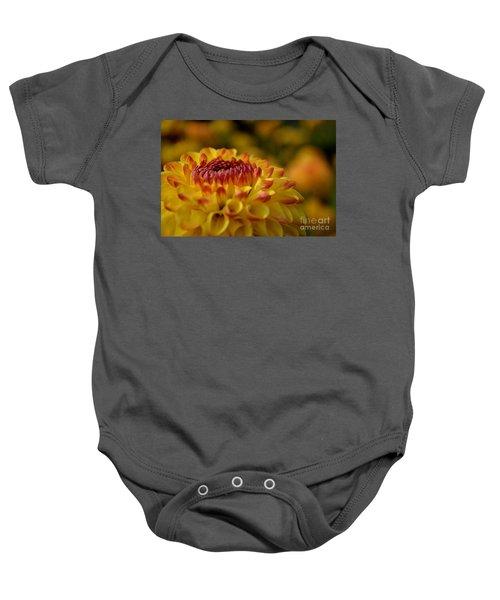 Yellow Dahlia Red Tips Baby Onesie