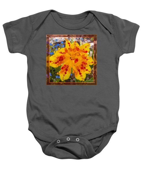 Yellow Lily With Streaks Of Red Abstract Painting Flower Art Baby Onesie