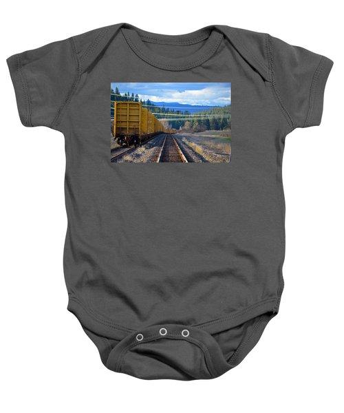 Yellow Train To The Mountains Baby Onesie