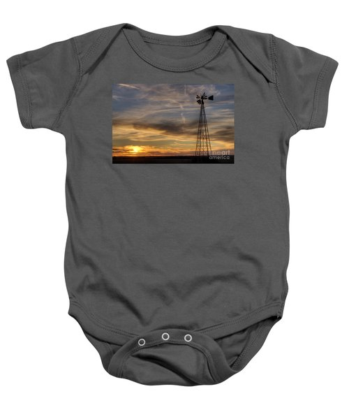 Windmill And Sunset Baby Onesie