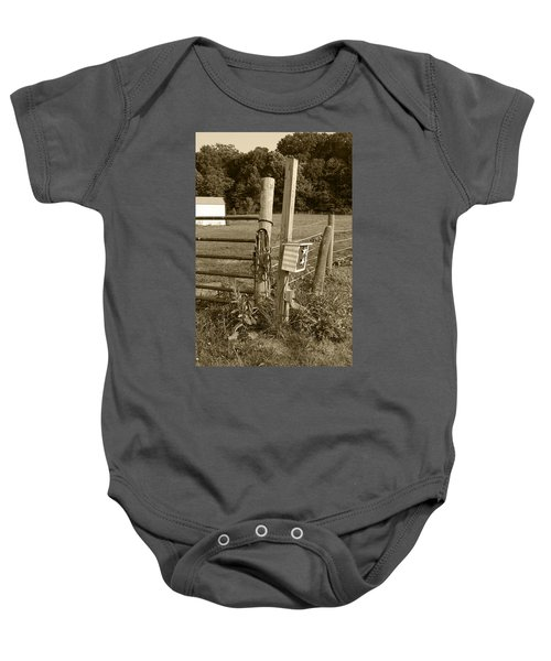 Baby Onesie featuring the photograph Fence Post by Jennifer Ancker