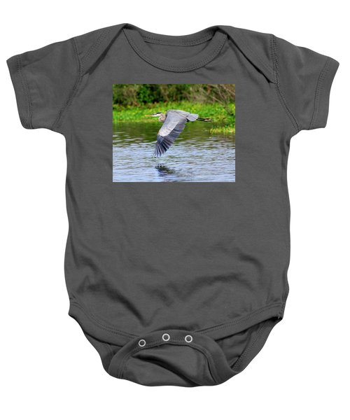 Great Blue Heron Inflight Baby Onesie