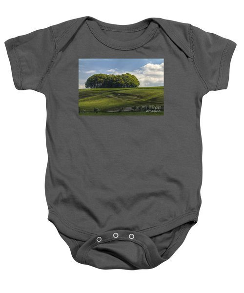 Baby Onesie featuring the photograph Hackpen Hill by Clare Bambers