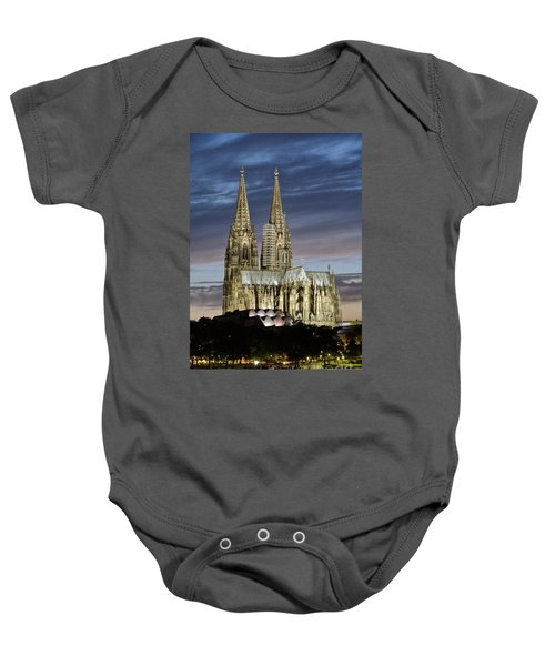 Baby Onesie featuring the photograph High Cathedral Of Sts. Peter And Mary In Cologne by Heiko Koehrer-Wagner