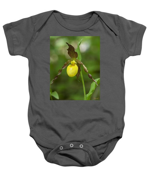 Large Yellow Lady Slipper Orchid Dspf0251 Baby Onesie