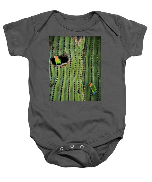 Lovebirds And The Saguaro  Baby Onesie