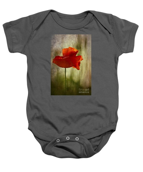 Moody Poppy. Baby Onesie by Clare Bambers - Bambers Images