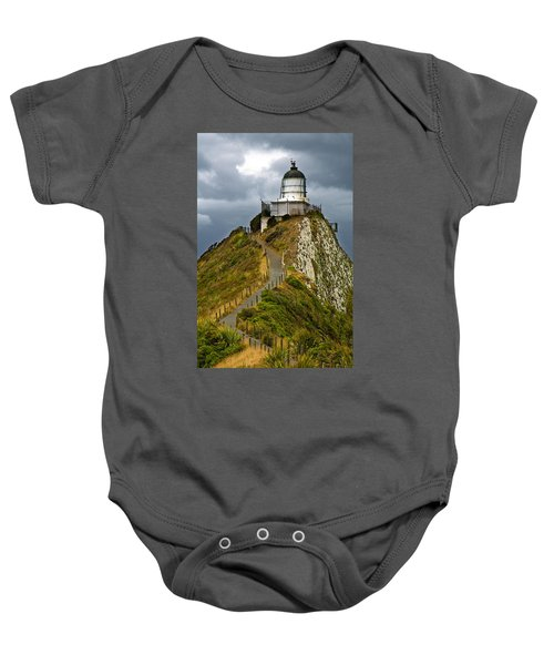 Nugget Point Light House And Dark Clouds In The Sky Baby Onesie