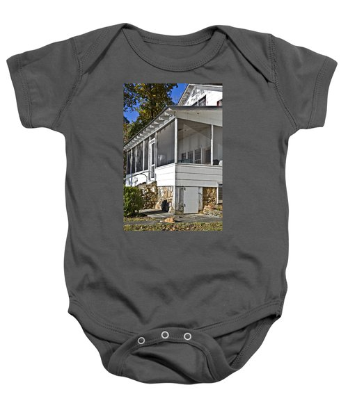 Screened Porch On Old Farmhouse Baby Onesie