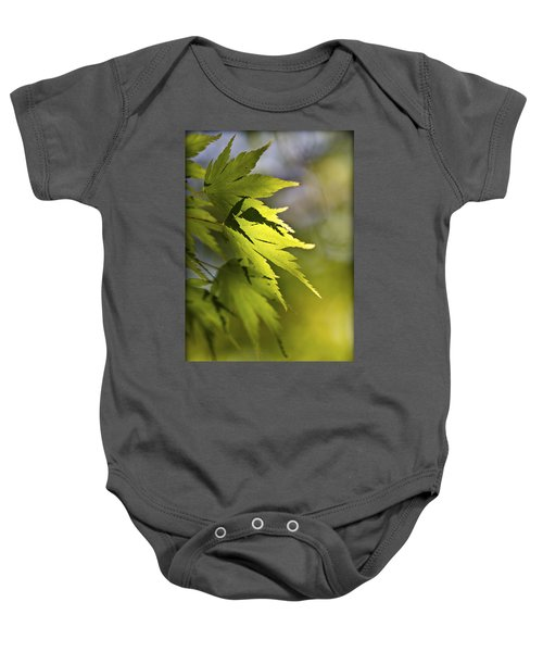 Baby Onesie featuring the photograph Shades Of Green And Gold. by Clare Bambers