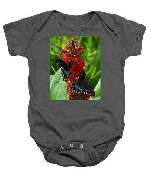 Spicebush Swallowtails Visiting Cardinal Lobelia Din041 Baby Onesie
