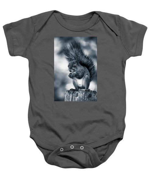 Squirrel In Monochrome Baby Onesie