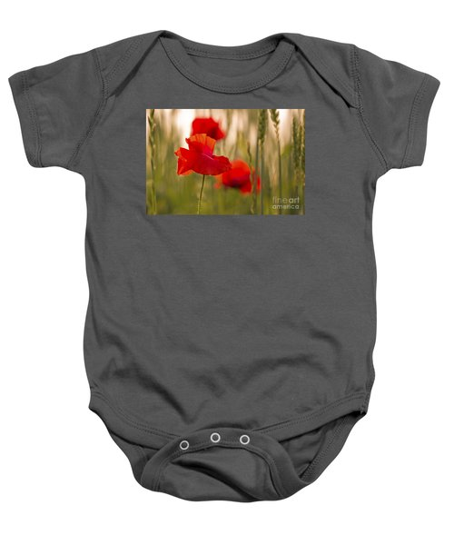 Baby Onesie featuring the photograph Sunset Poppies. by Clare Bambers