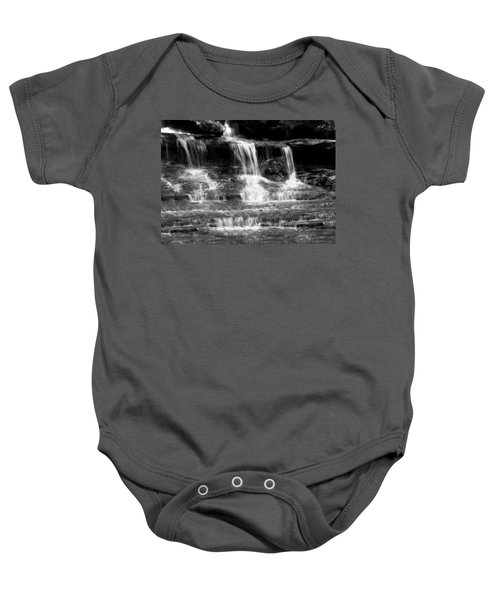 Waterfall Trio At Mcconnells Mill State Park In Black And White Baby Onesie