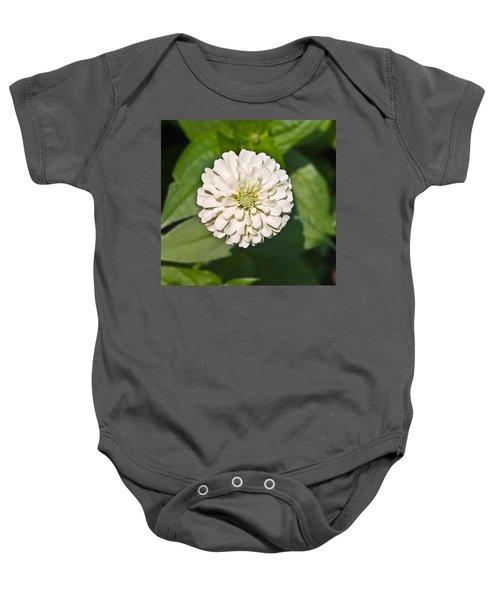 White Zinnia And Green Leaves Baby Onesie