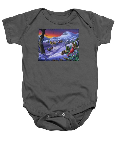 Christmas Sleigh Ride Winter Landscape Oil Painting - Cardinals Country Farm - Small Town Folk Art Baby Onesie