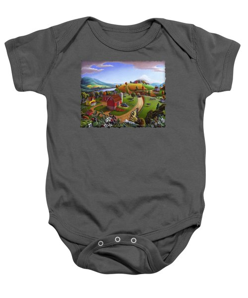 Folk Art Blackberry Patch Rural Country Farm Landscape Painting - Blackberries Rustic Americana Baby Onesie