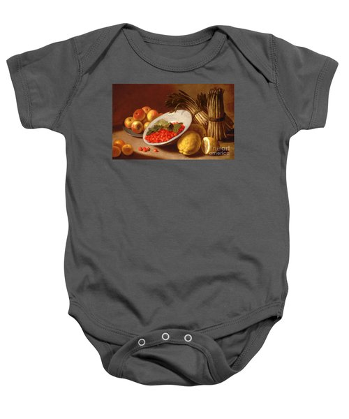Still Life Of Raspberries Lemons And Asparagus  Baby Onesie