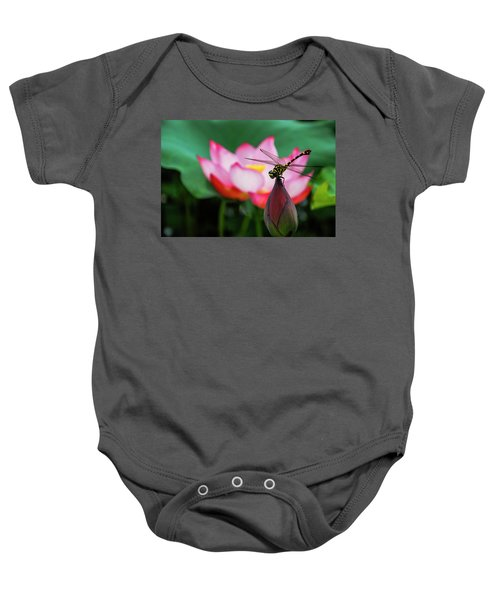 A Dragonfly On Lotus Flower Baby Onesie