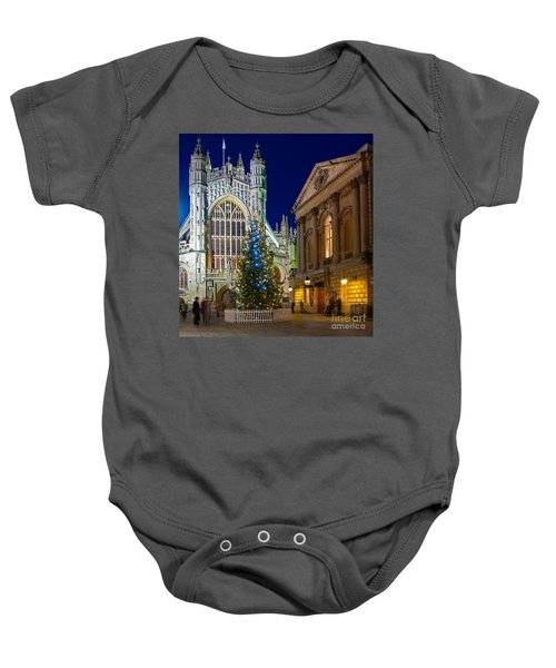 Bath Abbey At Night At Christmas Baby Onesie
