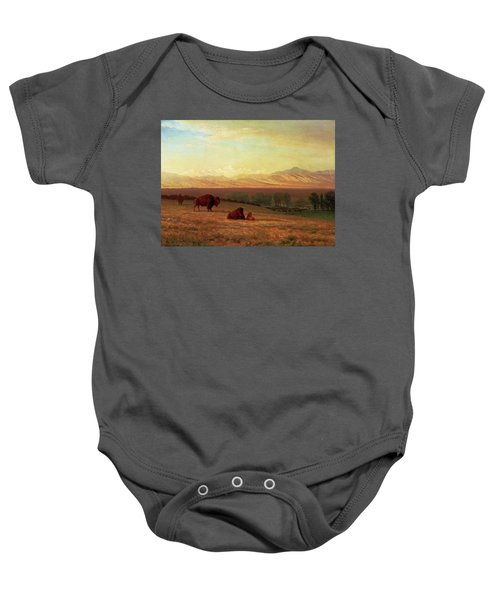 Buffalo On The Plains Baby Onesie by MotionAge Designs