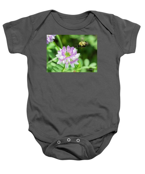 Bumble Bee Pollinating A Flower Baby Onesie by Ricky L Jones