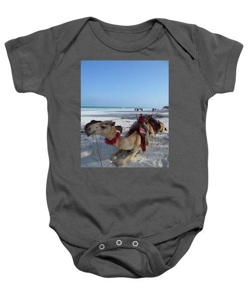 Camel On Beach Kenya Wedding Baby Onesie