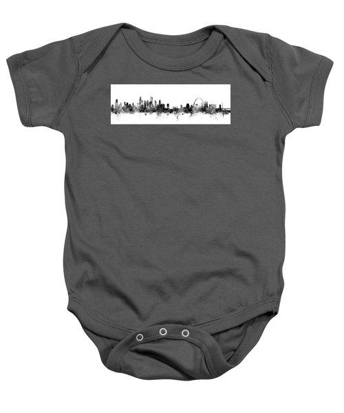 Chicago And St Louis Skyline Mashup Baby Onesie