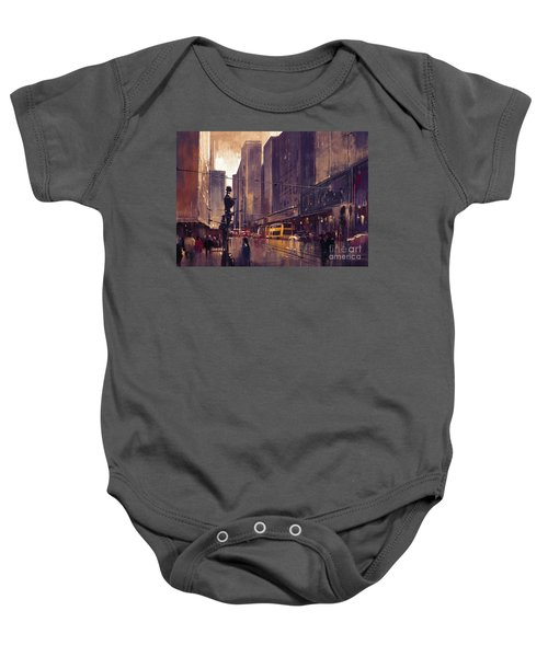 Baby Onesie featuring the painting City Street by Tithi Luadthong